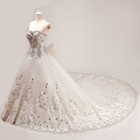 Custom Couture Ivory White Crystal Formal Wedding Bridal Gowns Dresses SKU-119094
