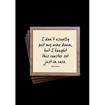 I Don't Usually Put My Wine Down Copper & Glass Coasters, Set of 4