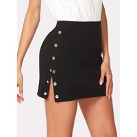 Buttoned Side Fitting Skirt