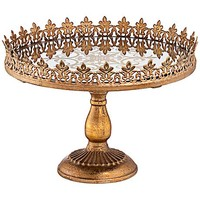 "Fleur-de-Lis Bronze Gold 13"" Round Decorative Cake Stand - #8J363 