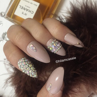 Set of nude stiletto press on nails rhinestones 3d false nails glue on nails