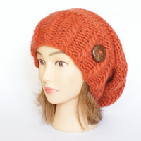 Wool orange slouch hat women - beanies hat - Slouch Beanie - chunky hat - Chunky Knitted Accessories , Slouchy hat, Irish handknit