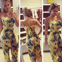 Fashion Summer Women Sexy Jumpsuits Bowknot Flower Printed Backless Strap Rompers Ladies Casual Clothing FS99