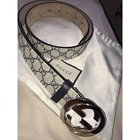 GUCCI Woman Men Fashion Smooth Buckle Belt Leather Belt I