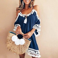 2018 New Summer Loose Beach Sundress Backless Short Sleeve Tassel Women Mini Dresses Female Spaghetti Strap Boho Dress Plus Size