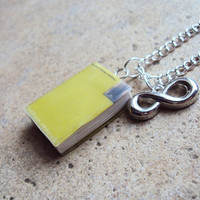 Perks Of Being A Wallflower Necklace with Book Charm and Metal Infinity Charm