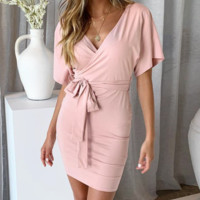 Spring and summer new fashion knit dress loose women's slim wrap skirt