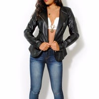 (alw) Double zipper moto black jacket
