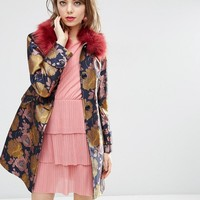 ASOS Dolly Coat in Floral with Faux Fur Collar at asos.com