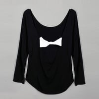 Fashion Women Sexy Casual Round Neck Long Sleeve Backless Bow Stretch Irregular Solid T Shirt Tops