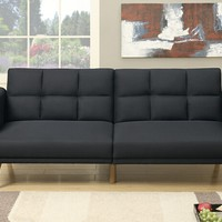 Nathaniel II collection black linen like fabric upholstered futon sofa bed with arms