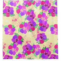 Cream Hibiscus Shower Curtain
