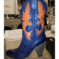 Burnside Orange and Blue Cowgirl Boots