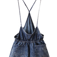 ROWME Straps Pocketed Blue Denim Playsuit