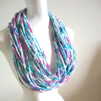 Blue Green Cowl Scarf Pink Purple Infinity Loop Scarf Tropical Print Neck Warmer Upcycled Tribal WInter Accessories Gifts Under 75
