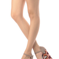 Taupe Faux Suede Embroidered Wedges