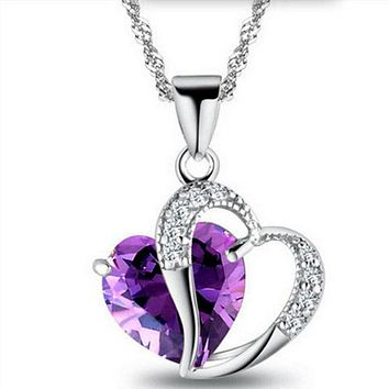6 Colors Women Fashion Heart Pendant Cecklace Crystal Jewelry Girls