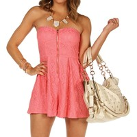 Sale -coral Exposed Front Zip Lace Romper