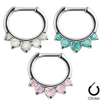Five Pronged Opalites 316L Surgical Steel Septum Clicker Ring