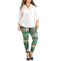 Green Floral Tribal Plus Size Women's Leggings