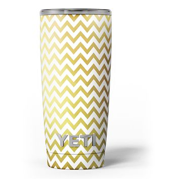 The Gold and White Chevron Pattern - Skin Decal Vinyl Wrap Kit compatible with the Yeti Rambler Cooler Tumbler Cups