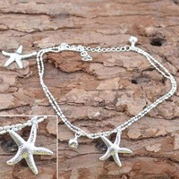 Women's Anklets Chain Charm Starfish Beads Bracelet