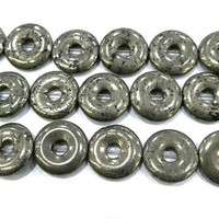 pyrite donuts beads - gemstone donut pendants - circle gesmtone beads - donuts necklace beads - jewelry making donut pendant -15inch