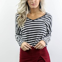What About Us Black & White Striped V-Neck Top