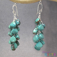 "Turquoise drops linked together, 1-1/2"" Earring Gold Or Silver"