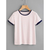Striped Ringer Tee Casual Multicolor