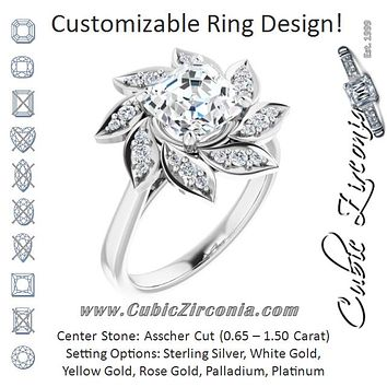 Cubic Zirconia Engagement Ring- The Xiùying (Customizable Asscher Cut Design with Artisan Floral Halo)
