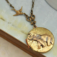 BEST OF FRIENDS baby elephant vintage locket necklace
