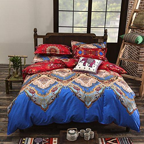 Image of Bohemian Style 4 Polyester Duvet Cover Set, Floral Boho Design, Queen & King - Free Shipping