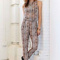 Ecote Sheer Snake Print Jumpsuit- Brown