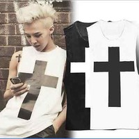 BIGBANG G-dragon Tank Top EXO Vest Crooked MV CROSS T-Shirt Tanktop KPOP GD Tee