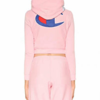 champion Fashion show thin hooded print two piece sweater
