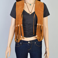 1970s Leather Fringe Vest / Vintage Top / Suede Leather / Cropped Fit / Festival Style / Southwest / Hippie Style