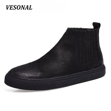 VESONAL 2017 Brand 100% Genuine Leather Chelsea Men Shoes British Style Men Boots Ankle High Quality Fashion Western Casual V048