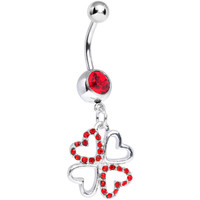 Red Gem Lucky in Love Clover Dangle Belly Ring   Body Candy Body Jewelry