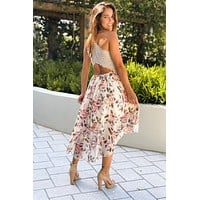 Beige Floral High Low Dress With Lace Back