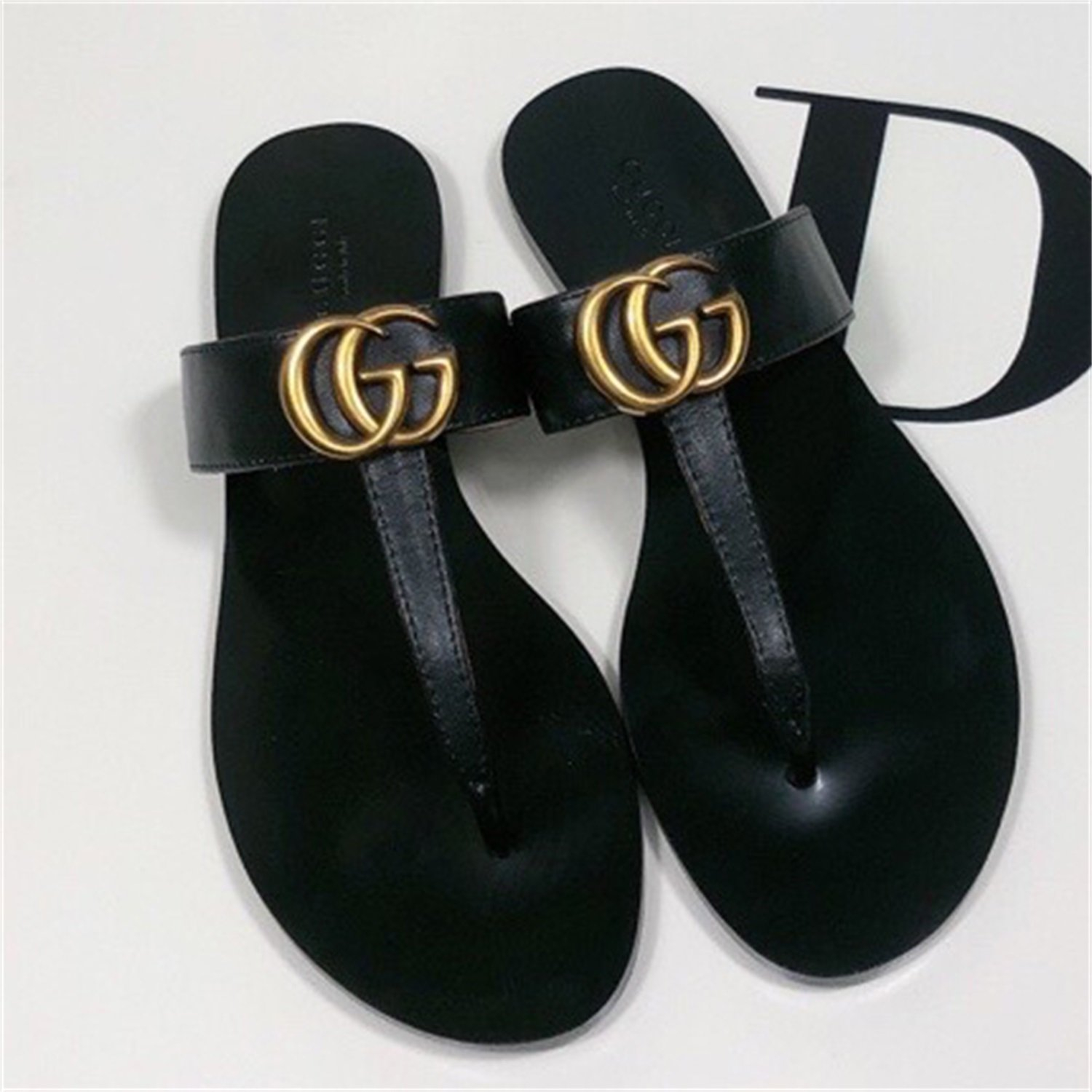 Image of GG women's double G flip flops slippers shoes