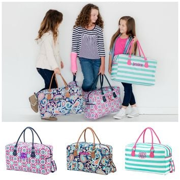 Monogrammed Kids Duffle Bag Girls Travel Shoulder Tote
