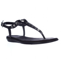 Aerosoles Chlose Together Studded T-Strap Flat Sandals - Black
