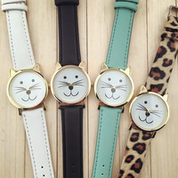 Leather Cat Watch Women Dress Quartz Watches + Gift Box