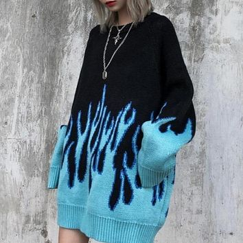 Blue Flame Knitted Sweater
