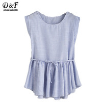 Dotfashion Blue Vertical Striped Self Tie Ruffle Hem Tops Female Cute Shirt Summer Round Neck Sleeveless Blouse
