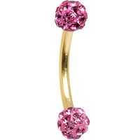 16 Gauge Gold Anodized Titanium Pink Ferido Crystal Ball Eyebrow Ring | Body Candy Body Jewelry