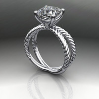 Forever Brilliant Moissanite Twist Shank Engagement Ring 2.80 CT Cushion Cut