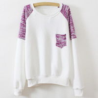 White Long Sleeve Color Block Patch Pocket Hoodie