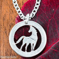 Horse Jewelry, Equestrian necklace, hand cut coin
